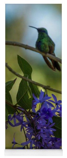 Purple Blossoms And Hummingbird Yoga Mat