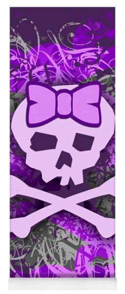 Purple Girly Skull Graphic Yoga Mat