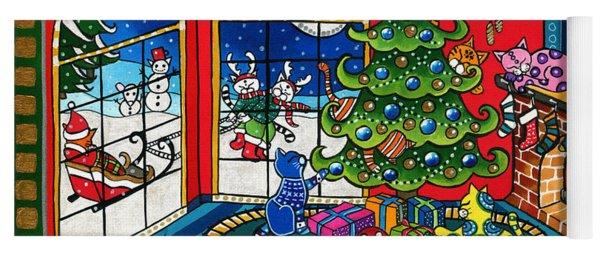 Purrfect Christmas Cat Painting Yoga Mat
