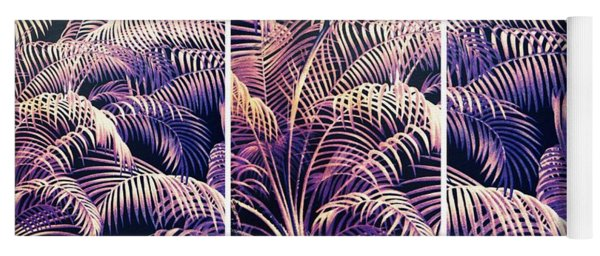 Yoga Mat featuring the photograph Palm Frond Triptych by Jessica Jenney