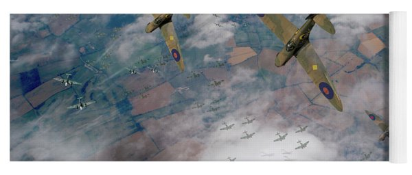 Raf Spitfires Swoop On Heinkels In Battle Of Britain Yoga Mat