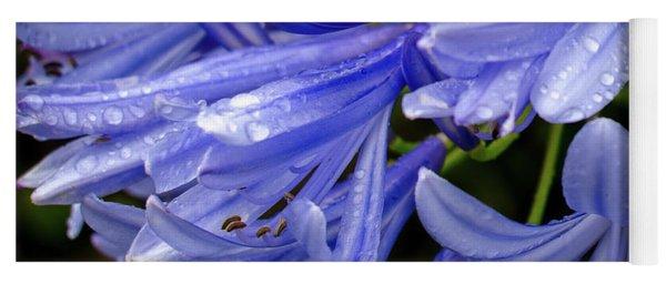 Rain Drops On Blue Flower II Yoga Mat