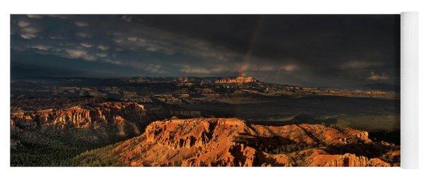 Rainbow And Thunderstorm Over The Paunsaugunt Plateau  Yoga Mat