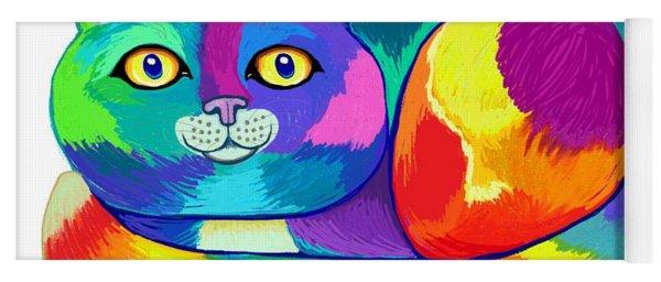 Rainbow Spectrum Cat Yoga Mat