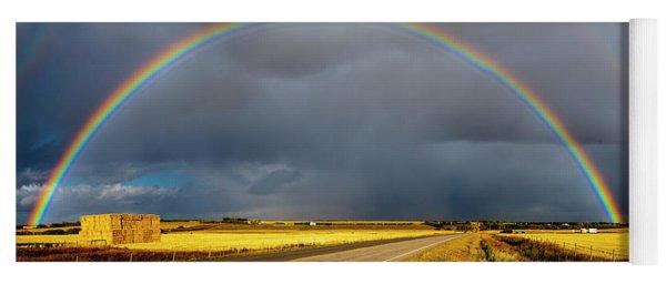 Rainbow Over Crop Land Yoga Mat