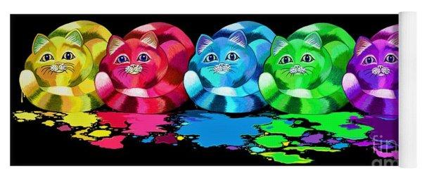Rainbow Painted Cats Yoga Mat
