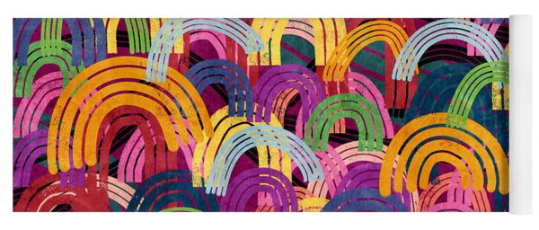 Rainbow Party- Art By Linda Woods Yoga Mat