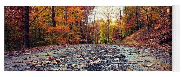 Rainy Fall Roads Yoga Mat