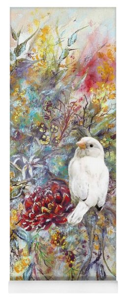 Rare White Sparrow - Portrait View. Yoga Mat
