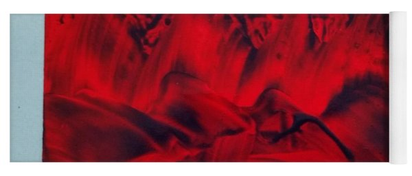 Red And Black Encaustic Abstract Yoga Mat
