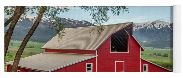 Red Barn By The Road Yoga Mat