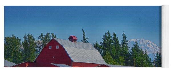 Red Barn With Mount Rainier Yoga Mat