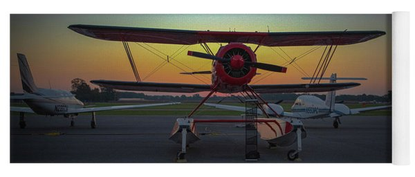Red Biplane At Dawn Yoga Mat