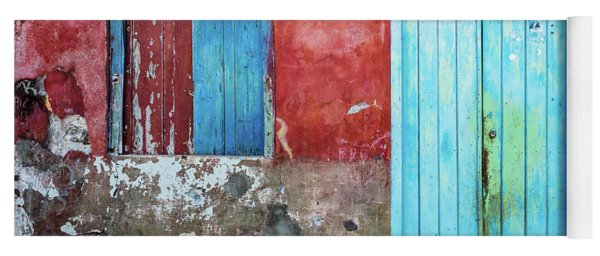 Red, Blue And Grey Wall, Door And Window Yoga Mat
