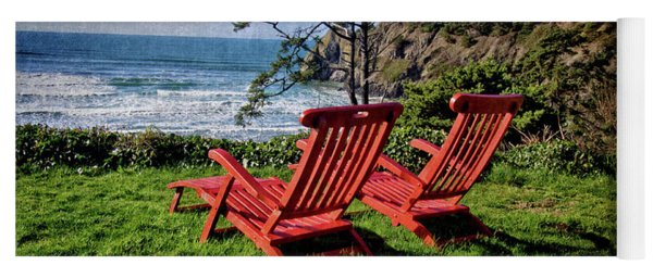 Red Chairs At Agate Beach Yoga Mat