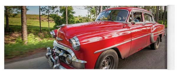 Yoga Mat featuring the photograph Red Classic Cuban Car by Mark Duehmig