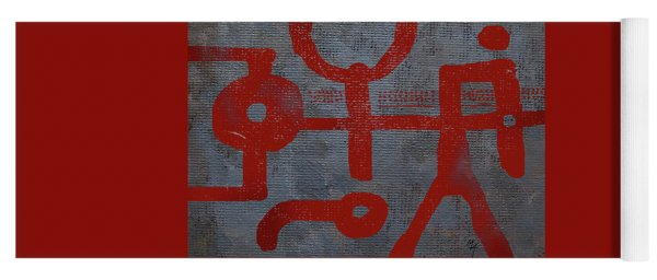 Red Drawing Yoga Mat