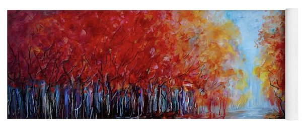 Red Fall Forest By Olena Art  Yoga Mat