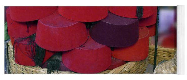 Red Fez Tarbouche And White Wicker Tagine Cookers Yoga Mat