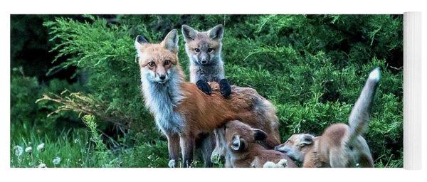 Red Fox Family Yoga Mat
