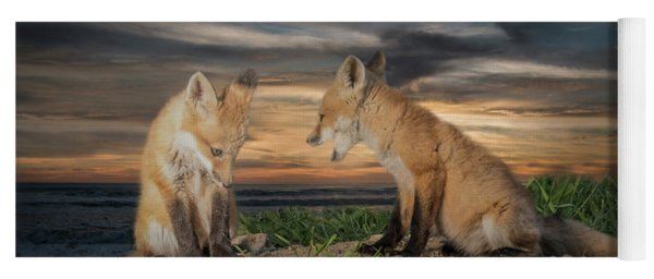 Yoga Mat featuring the photograph Red Fox Kits - Past Curfew by Patti Deters