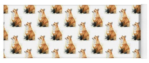 Red Fox Watercolor Pattern Yoga Mat