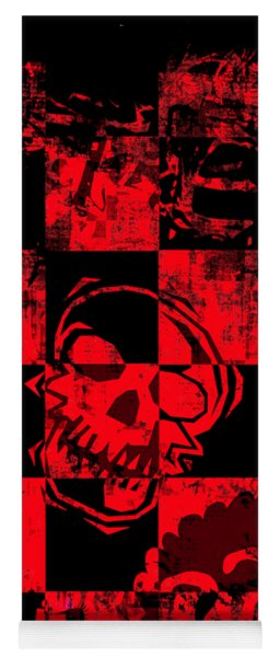 Red Grunge Skull Graphic Yoga Mat