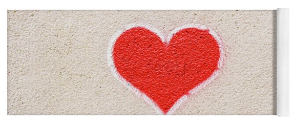 Red Heart Painted On A Wall, Message Of Love. Yoga Mat