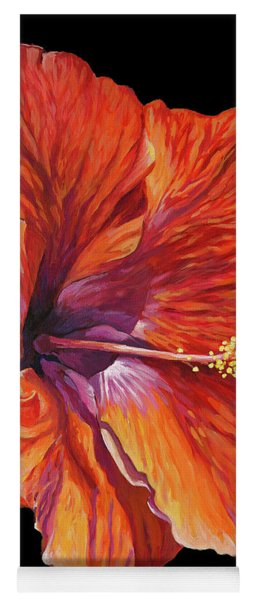 Red Hibiscus On Black Yoga Mat