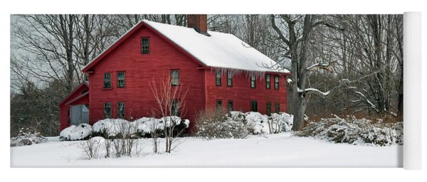 Red New England Colonial In Winter Yoga Mat