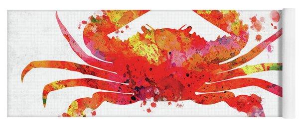 Red Orange Crab Watercolor Yoga Mat