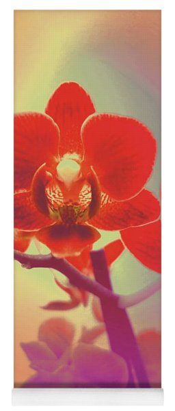 Yoga Mat featuring the mixed media Red Orchid  by Rachel Hannah