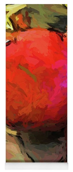 Red Pomegranate In The Yellow Light Yoga Mat