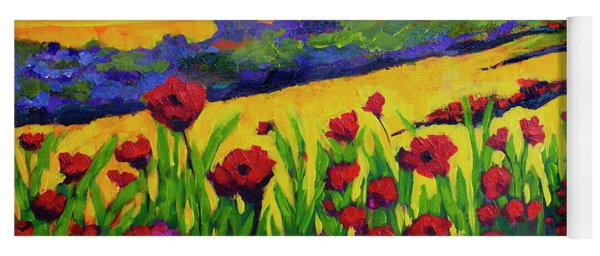 Red Poppies In Spring Yoga Mat