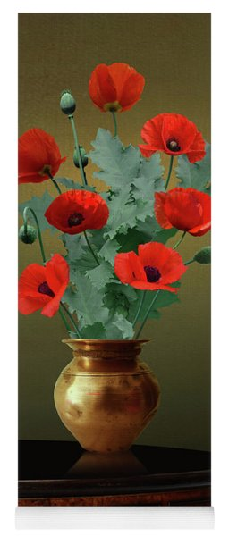Red Poppies In Vase Yoga Mat