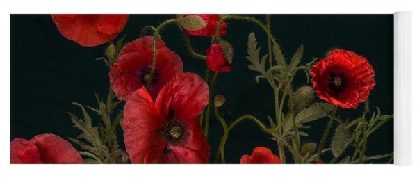 Red Poppies On Black Yoga Mat