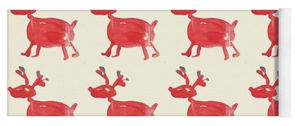 Red Reindeer Pattern Yoga Mat