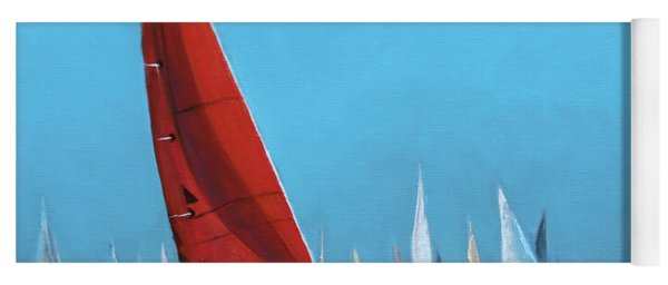 Red Sail At The Regatta Yoga Mat