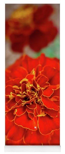 Red Summer Flowers Yoga Mat