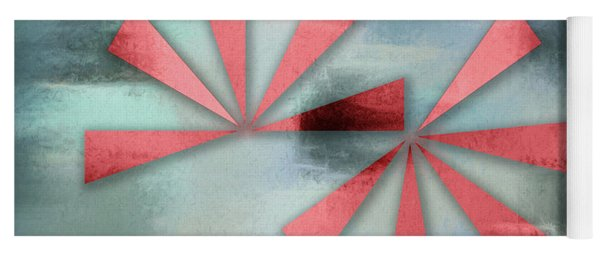 Red Triangles On Blue Grey Backdrop Yoga Mat