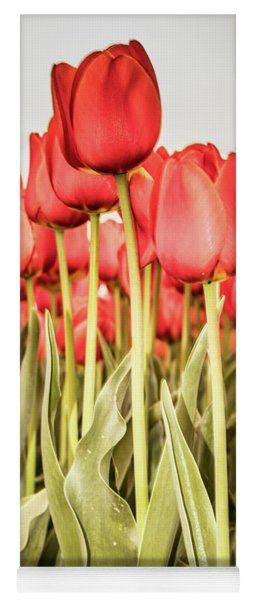 Yoga Mat featuring the photograph Red Tulip Field In Portrait Format. by Anjo Ten Kate