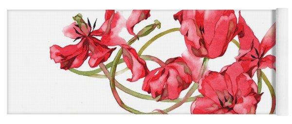 Red Tulips Vignette Yoga Mat