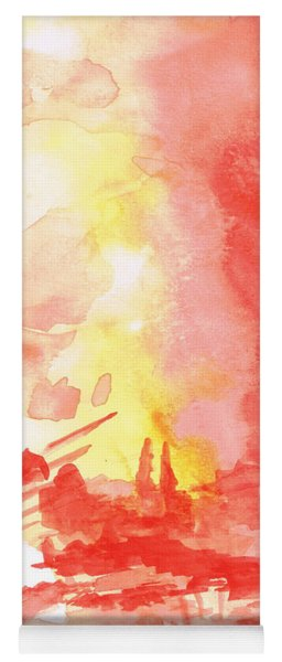 Red Village Abstract 1 Yoga Mat