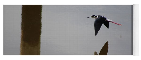 Reflection Of The Salton Sea Black Neck Stilt Flying Yoga Mat