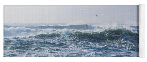 Reynisfjara Seagull Over Crashing Waves Yoga Mat