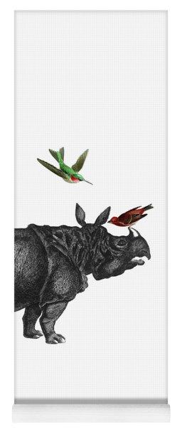 Rhinoceros With Birds Art Print Yoga Mat