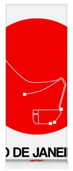 Rio De Janeiro Red Subway Map Yoga Mat