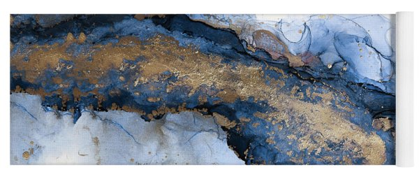 River Of Blue And Gold Abstract Painting Yoga Mat
