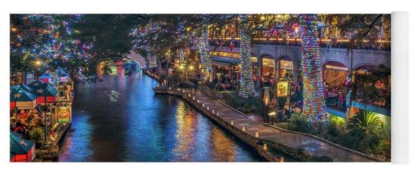 Riverwalk Christmas Lights Yoga Mat