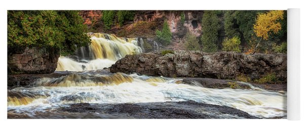 Yoga Mat featuring the photograph Roaring Gooseberry Falls by Susan Rissi Tregoning